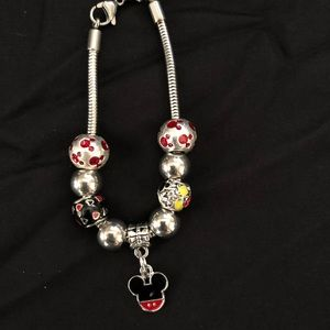 Mouse black and red charm bracelet